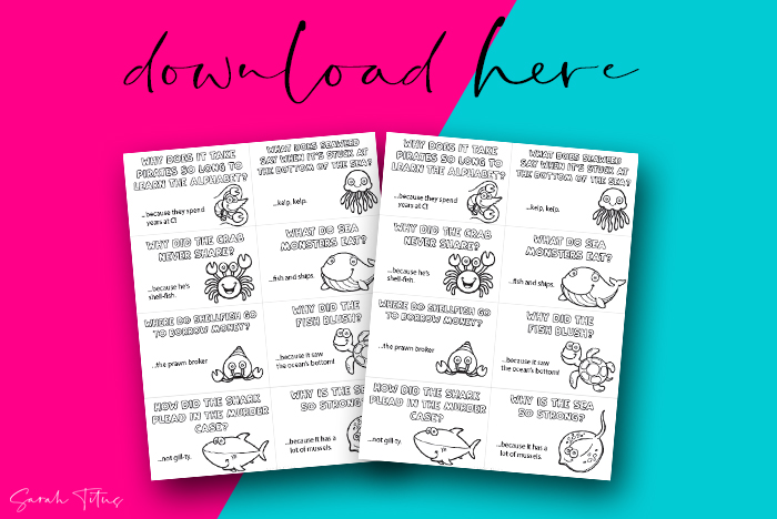 Sea Jokes Colorable Art Notes In Lunchbox Printable For You