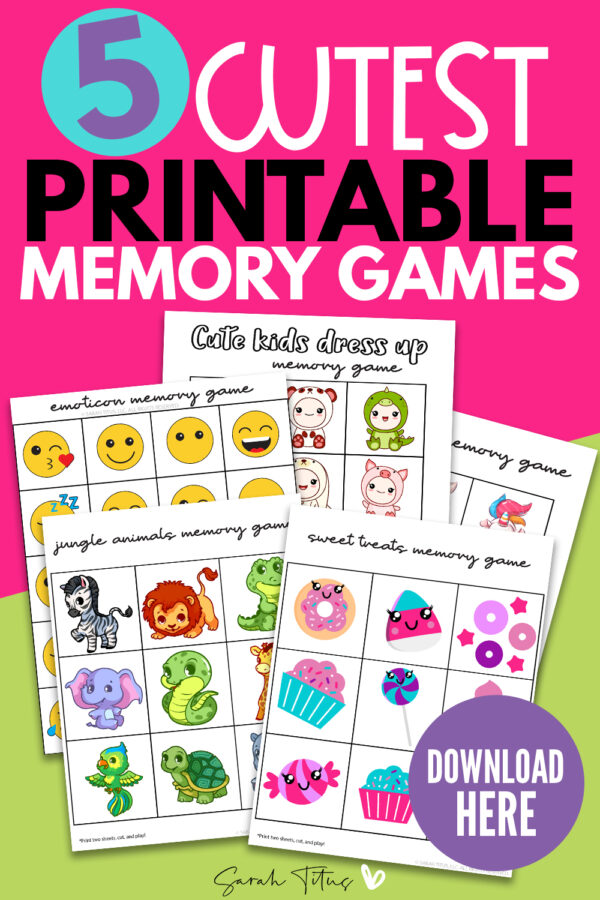 Would you like FREE printable memory games for kids? Check out these 5 super cute templates for kids (and adults) to have hours of fun activities whilst learning too! Includes animals, emoticons, sweet treat designs and more! #diy