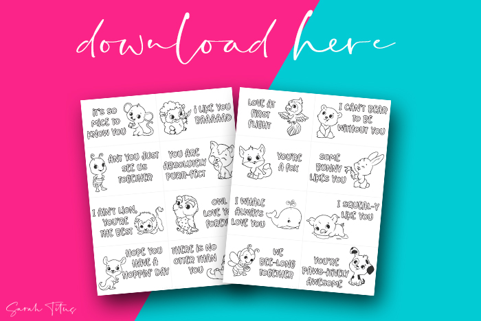 Adorable Animal Pun Valentines Cards To Color Printable
