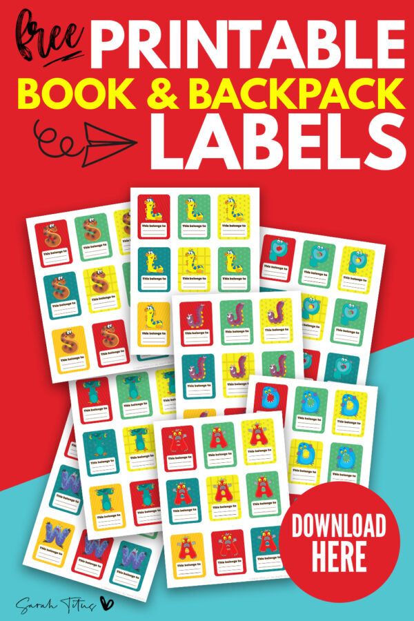 Looking for free book and backpack labels? These free printable monogram label templates are just what you need for kids at school! They include fun colorful character designs and you can personalize them on the blank space! #diy #ideas