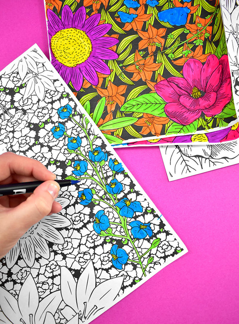 """Large coloring sheets offer the ultimate coloring experience and these lovely floral ones can be printed in three sizes from standard letter-size paper up to 24""""x36""""."""