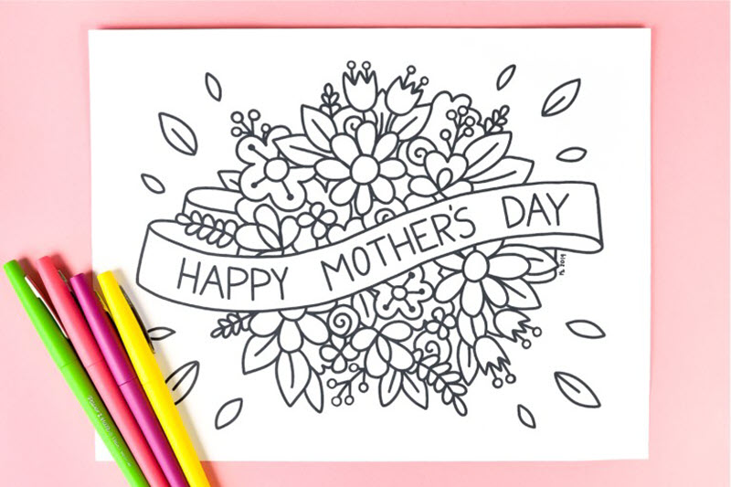 I love this idea. Instead of giving your mom a store-bought card for Mother's Day print and color this one. I promise she will love it more knowing you colored it!