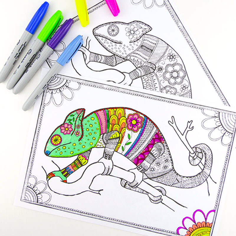 These chameleon coloring pages are super detailed so if you have pens in many colors you'll have a blast with these.