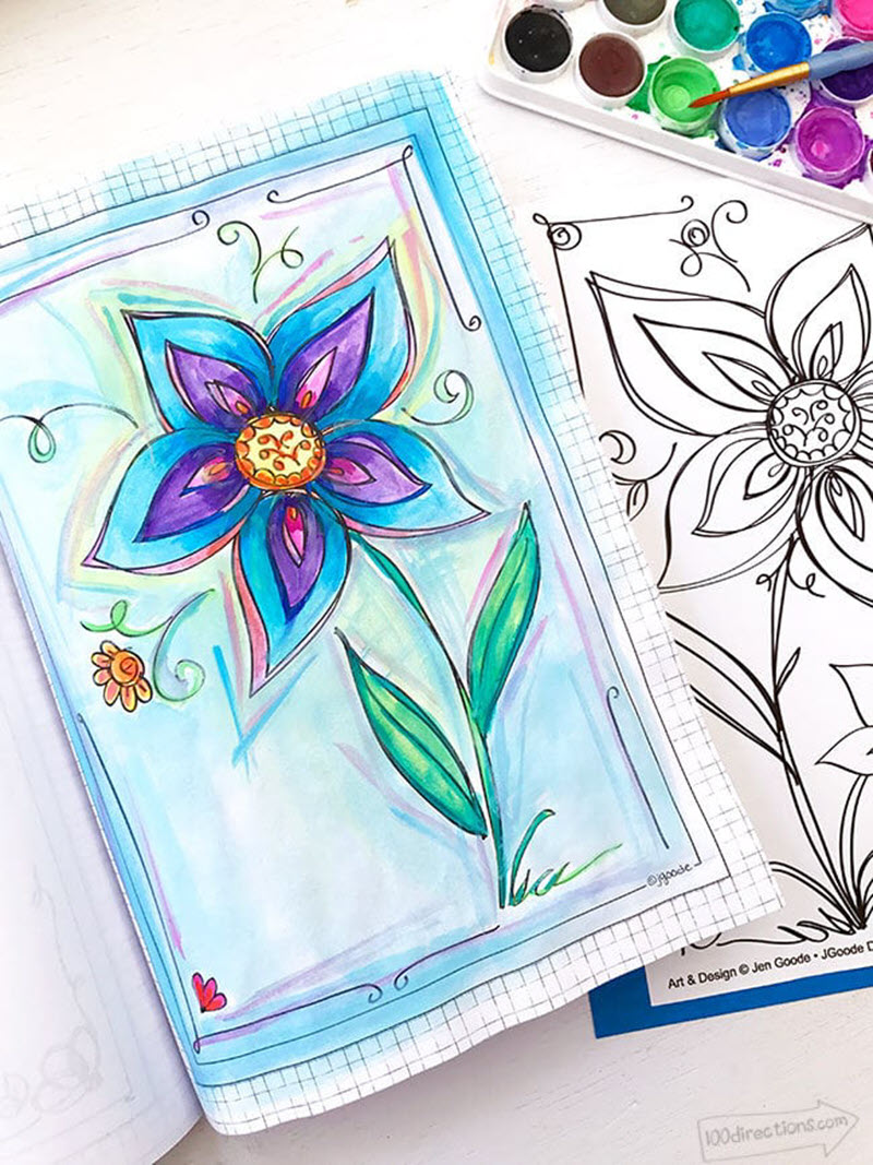 You can print this lily coloring sheet on watercolor paper and paint it to create a unique piece of art in the celebration of Spring!