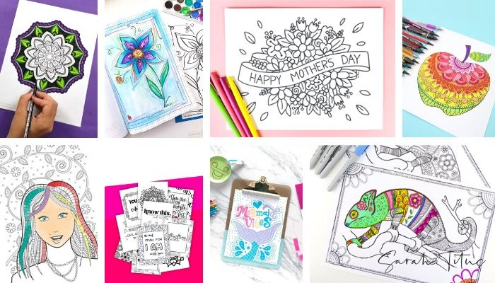 Have you ever tried coloring simply for fun and a stress reliever? These free coloring sheet printables for adults (or for kids too) are incredibly soothing and satisfying activities. It's the perfect art therapy and you can also use the colored sheets as wall art, gift wrap, bookmarks, placemats etc! Designs include floral, mandala, chameleon, mermaid and much more!