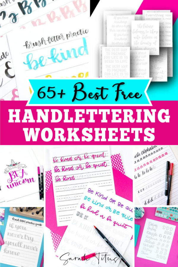Are you interested in learning how to hand-letter? These free printable handlettering practice sheets are perfect inspiration and ideas to help you develop this fun and rewarding typography skill! Try your hand at different fonts, styles, words, alphabet letters, art illustrations and so on. Here are some of the best free printable hand lettering worksheets so you can improve your calligraphy skills! Includes quotes, brush lettering and uppercase and lowercase lettering for beginners and higher levels!