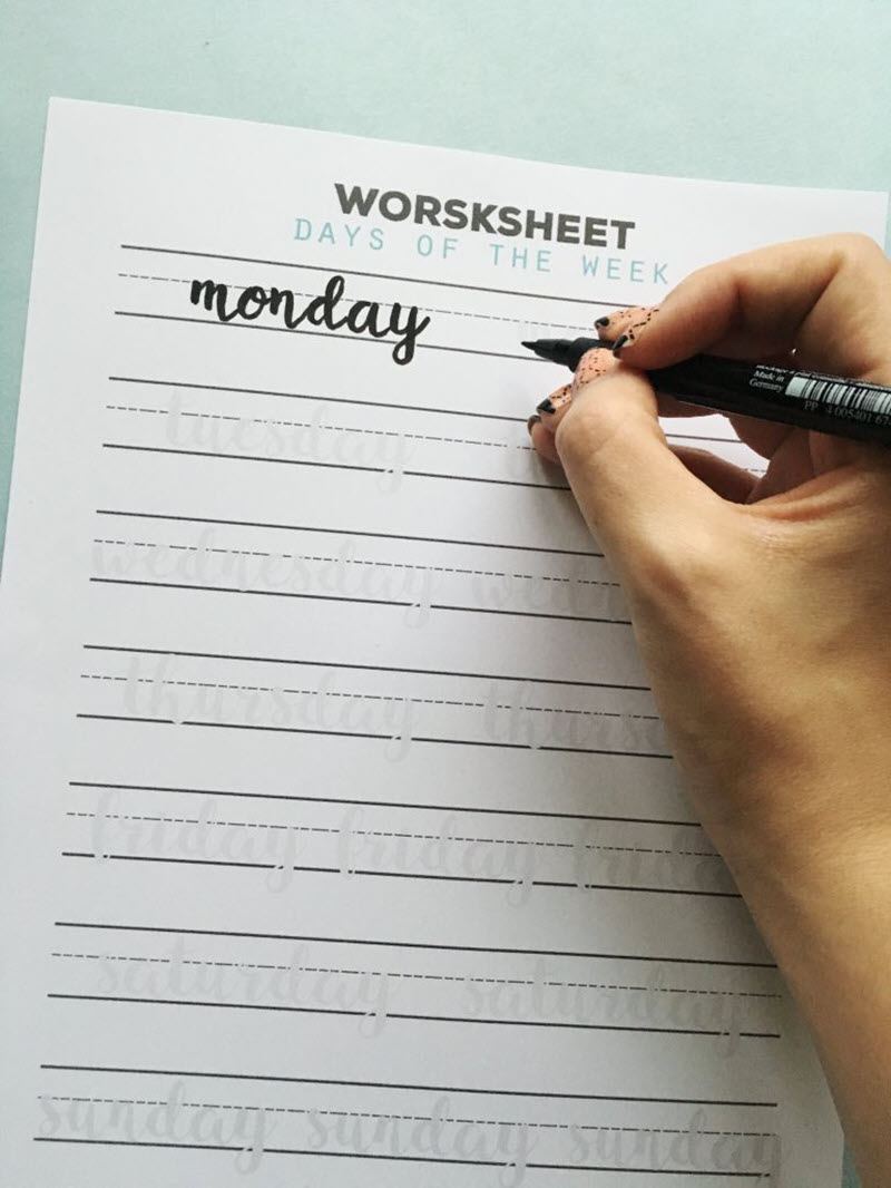 Learning how to hand-letter the days of the week can come in handy when planning or creating art. Practice handwriting them with these practical worksheets.