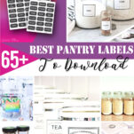 Looking for cute printable free pantry label templates? Here are some of the best DIY pantry labels & tags to download for organizing your shelf containers, spices jars, for baskets & more. Lots of gorgeous design ideas to choose from including chalkboard, farmhouse style, round, white, modern, vintage & more! Some are also blank & editable so you can add extra options to the list! #svg #cricut #font