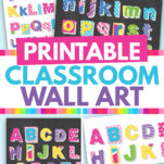 Here's a great set of colorful alphabet printable wall art free to download! It's a great way to brighten up a classroom, teachers and kids will both love these modern templates! There's uppercase and lower case letters with chalkboard and whiteboard style designs. Check them out!