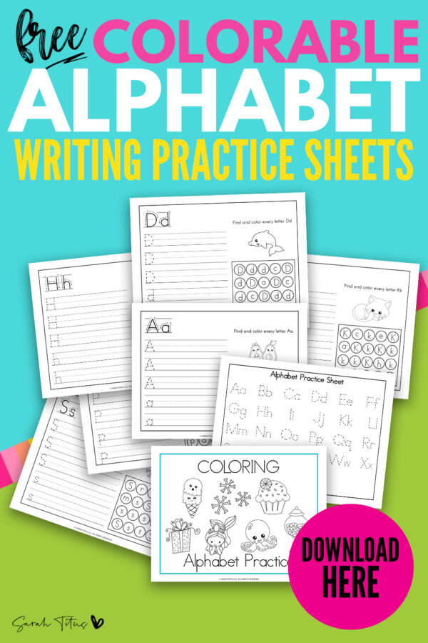 Cute Art Coloring Alphabet Writing Practice Worksheets - 26 PDF's - Sarah  Titus From Homeless To 8-Figures