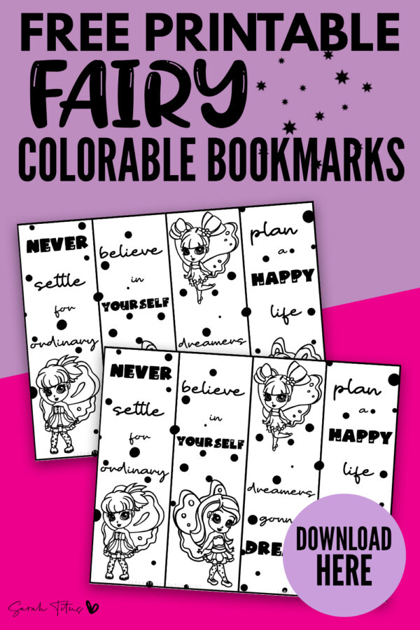 Do your kids love to color for fun? These free printable bookmarks to color are super cute, with a fairy design, polka dot patterns and motivational quotes! Your children will adore these templates and will want to share with all their friends! #diy