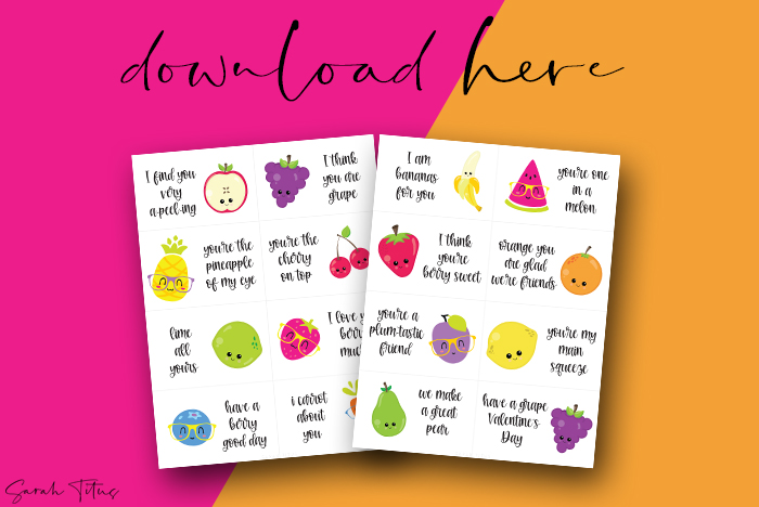 Fun Fruit Valentine's Day Cards Printable Free