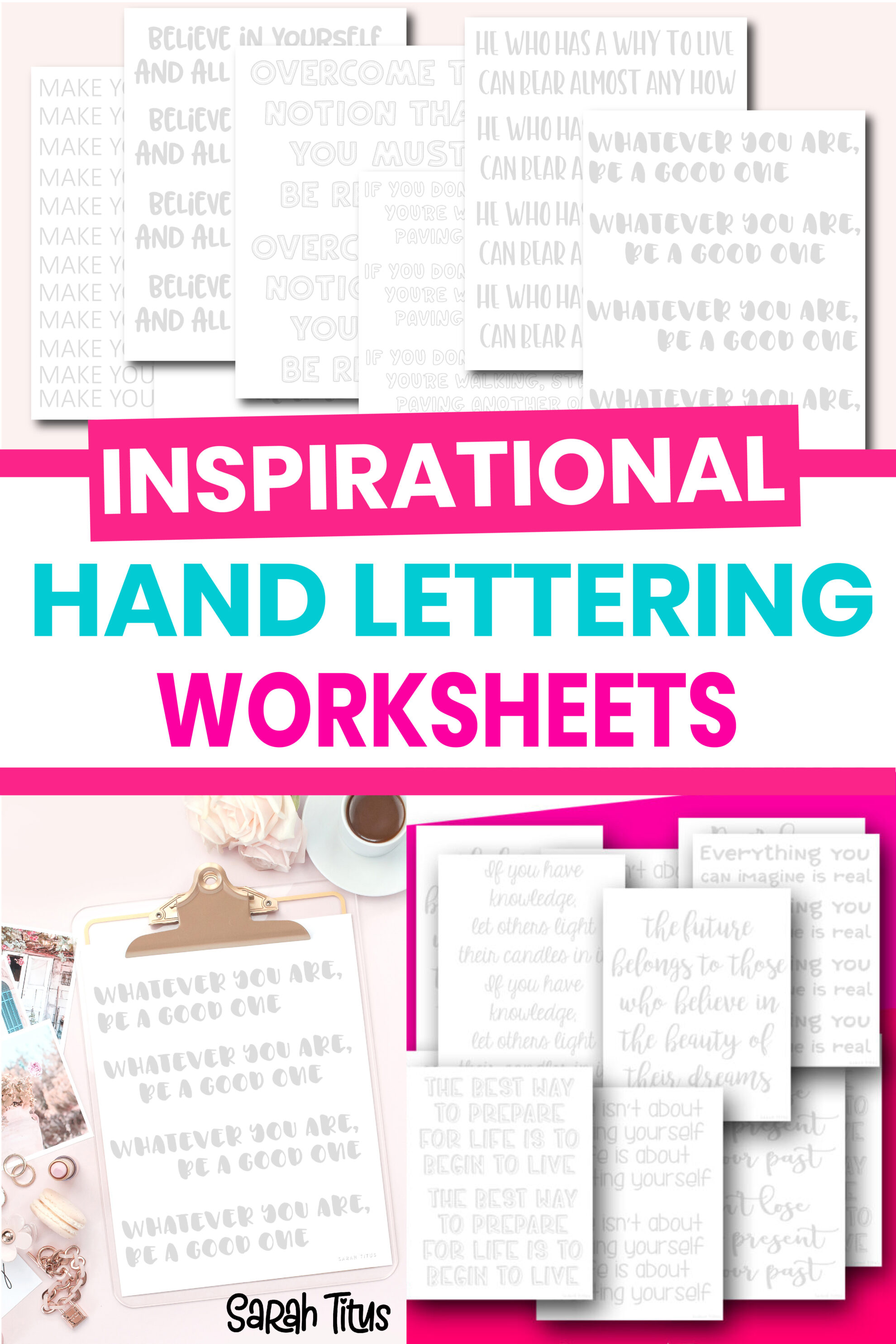 These 30+ free printable hand lettering worksheets are perfect for beginners looking to practice their handwriting and calligraphy! My daughter and I do them together and it's SOOO much fun (not to mention encouraging with these inspirational quotes)! :)