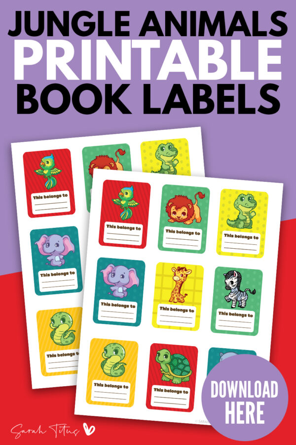 Here are super cute personalized book labels for free! These jungle animals book template tag labels are perfect design printables for kids at school, especially for boys, but for girls too! It's a fun way for their books to be personalized, just pick their favorite animals in the selection and write their name on the blank space! #kindergarten #ideas
