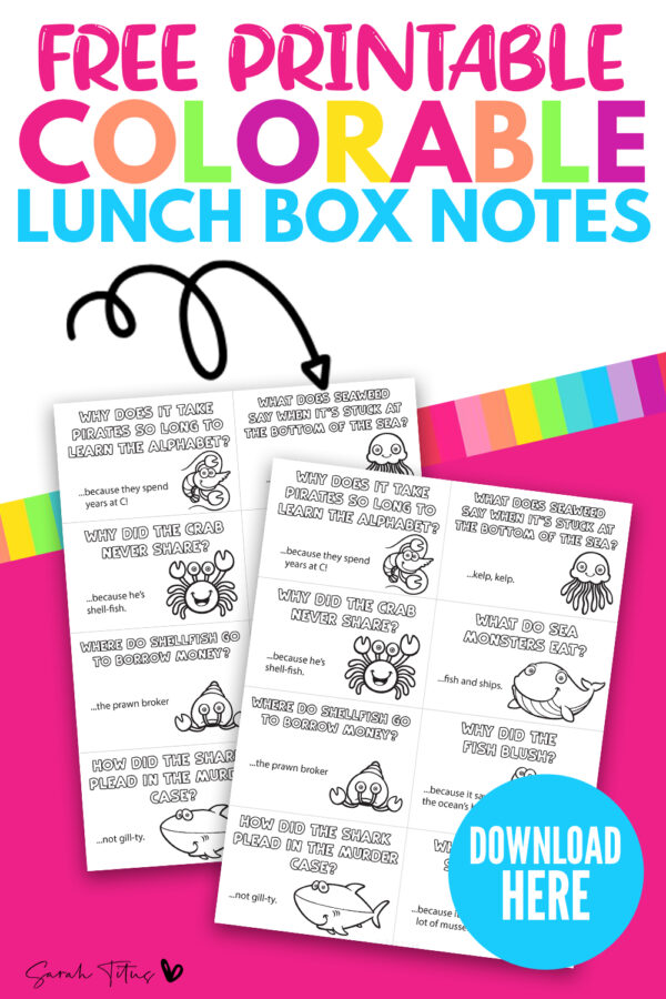 Looking for some cool notes in lunchbox joke ideas? These funny sea jokes templates are perfect free printables for kids, to give them a giggle at lunch time! They are also colorable too, which adds to the fun of these lunch box notes! #forboys #forkindergarteners