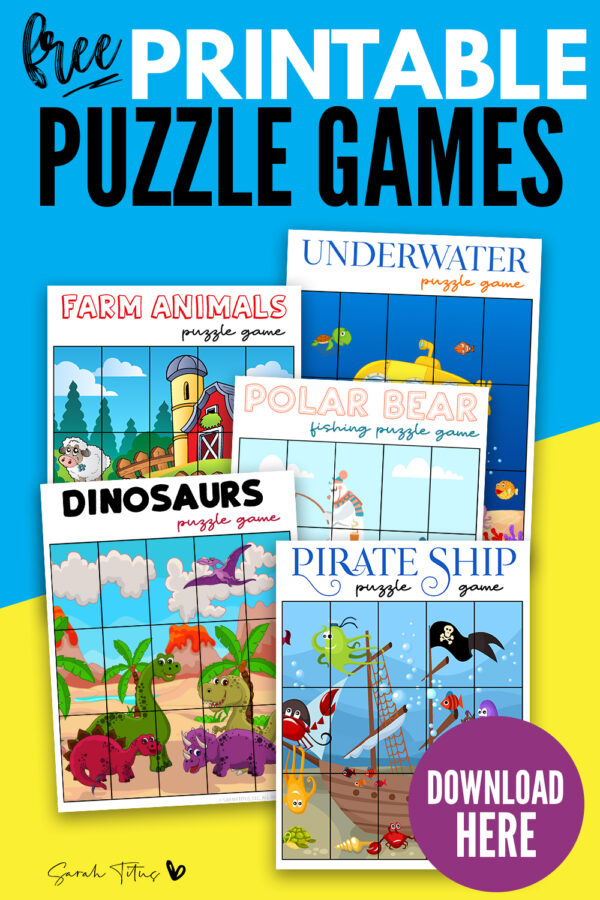 Here's a great selection of free printable puzzle games for boys! These puzzle pieces templates are perfect fun activities for kids or for toddlers to enjoy with friends and family! Such fun, bright designs including farm animals, dinosaurs, a pirate ship and more! #preschool #kindergarten #party