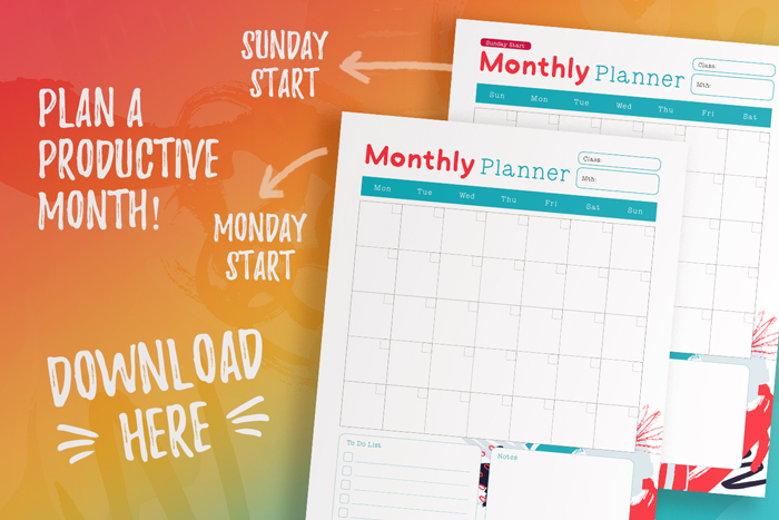 Free Monthly Planners_Student Planner