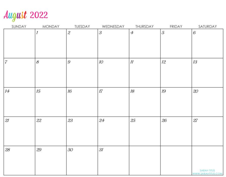 2022-August-calendar