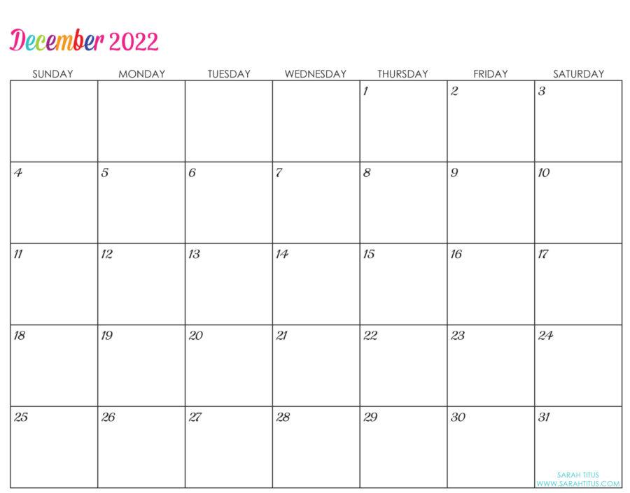 2022-December-calendar