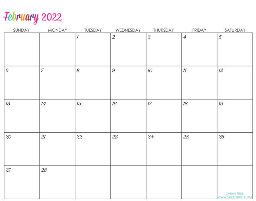 2022-February-calendar