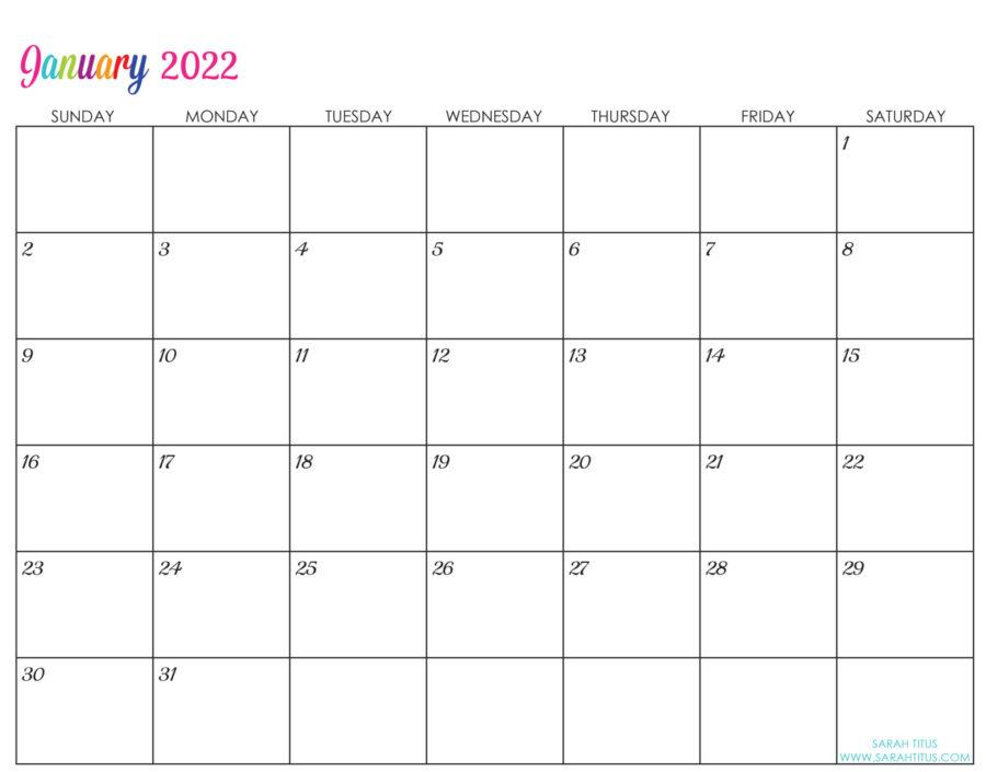 2022-January-calendar