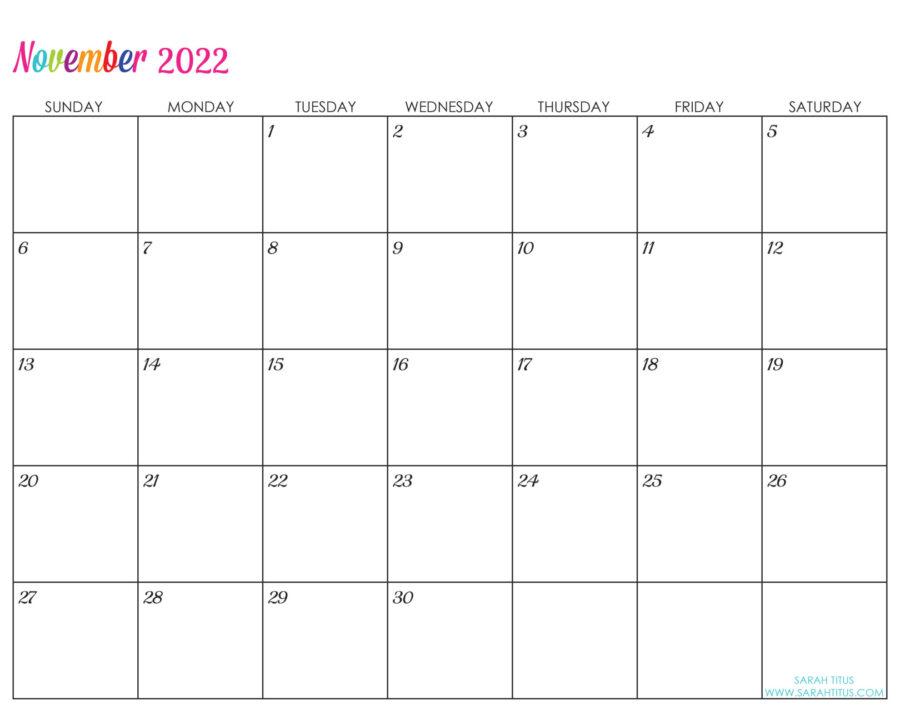 2022-November-calendar