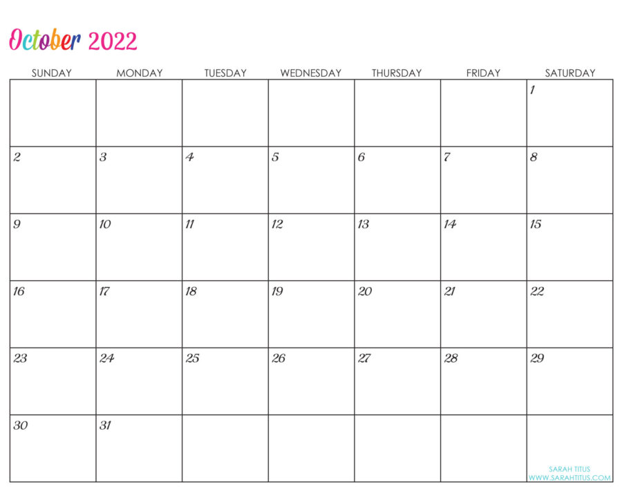 2022-October-calendar