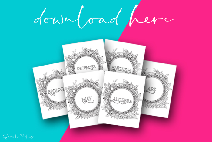 40+ Free Floral Art Coloring Printable Binder Dividers And Covers For Students
