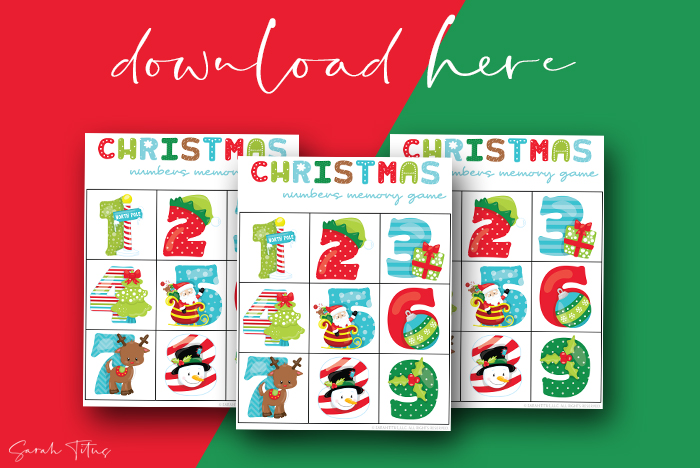 Awesome Numbers Memory Games Printables For Kids To Enjoy Christmas