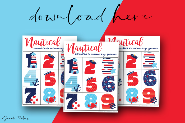 Awesome Numbers Memory Games Printables For Kids To Enjoy Nautical