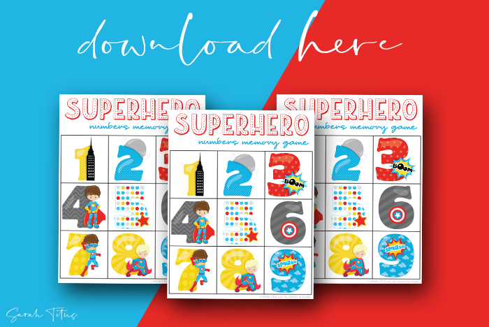 Awesome Numbers Memory Games Printables For Kids To Enjoy Superheroes