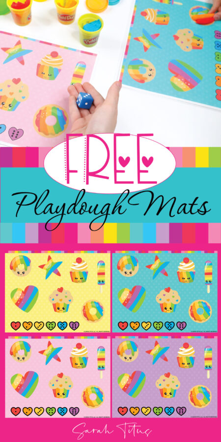 Looking for a fun and educational free game for kids? These playdough mat printables game templates are perfect for the whole family to play! The designs are super cute and colorful with rainbows, hearts, star shapes and tasty food art such as cupcakes and donuts! This is a great game for toddlers and preschool children to learn and practice colors and math numbers. #DIY #spring #summer #winter #fall