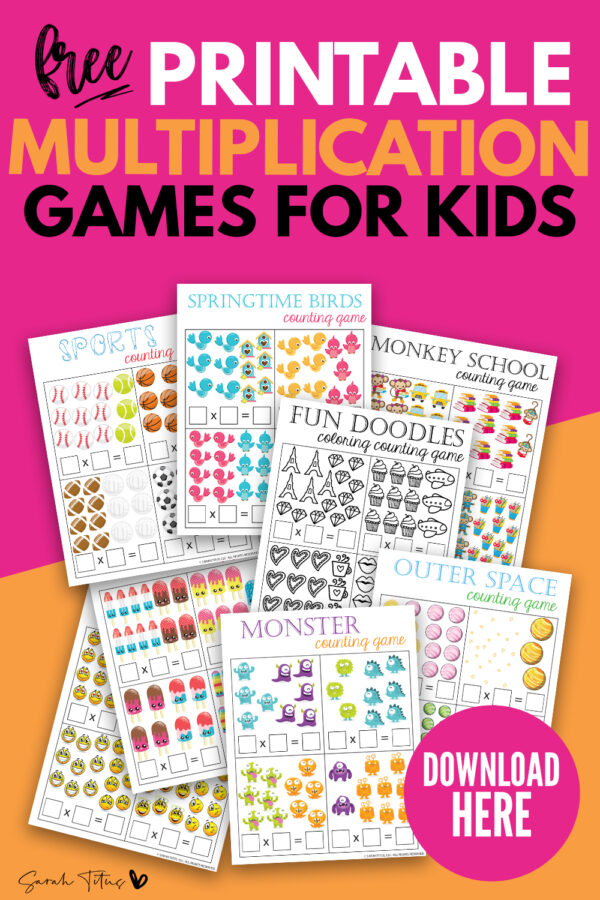 These super cute and FREE math games multiplication and counting printables are great for kids to enjoy learning! Download these fun templates for the perfect way to make math more fun for kids from year 1 and beyond - kindergarten, elementary or middle school! Some are also colorable too! They'll learn important math skills and how to do mental sums whilst feeling like they are playing! #primary #secondary #eyfs #ks1