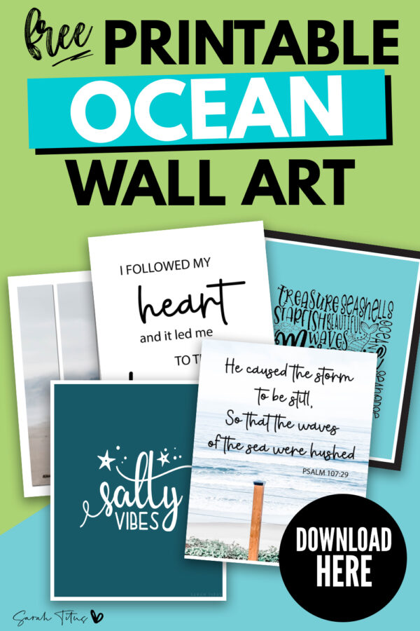 Here's a gorgeous set of FREE ocean wall art printables! These simple, modern templates are perfect ideas for those who love the beach and the ocean waves! Put these ocean themed prints in bedrooms, living rooms, the bathroom, kids nursery, anywhere! #blackandwhite #DIY