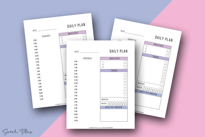 Small Business Planner Daily Plans