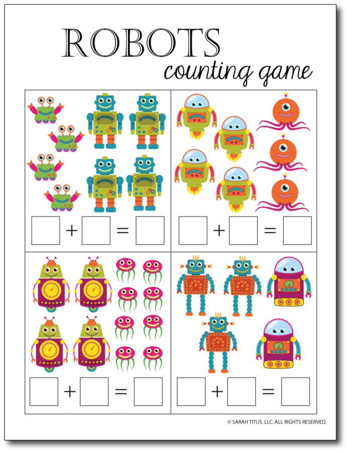 Addition-Counting-Game-Robots