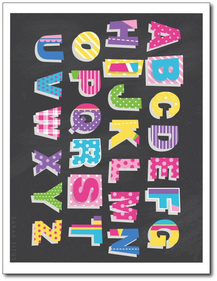 Colorful-Classroom-Alphabet-Printable-Wall-Art-Free-Black-Capitals