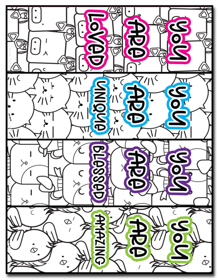 Cute Animals Coloring Bookmarks Set