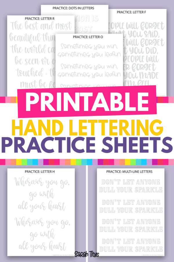 These free printable motivational hand lettering practice sheets are so fun to work on your letter skills. They are perfect for adults (or for kids)! You'll get both cursive and print pages to print. Download them here free!