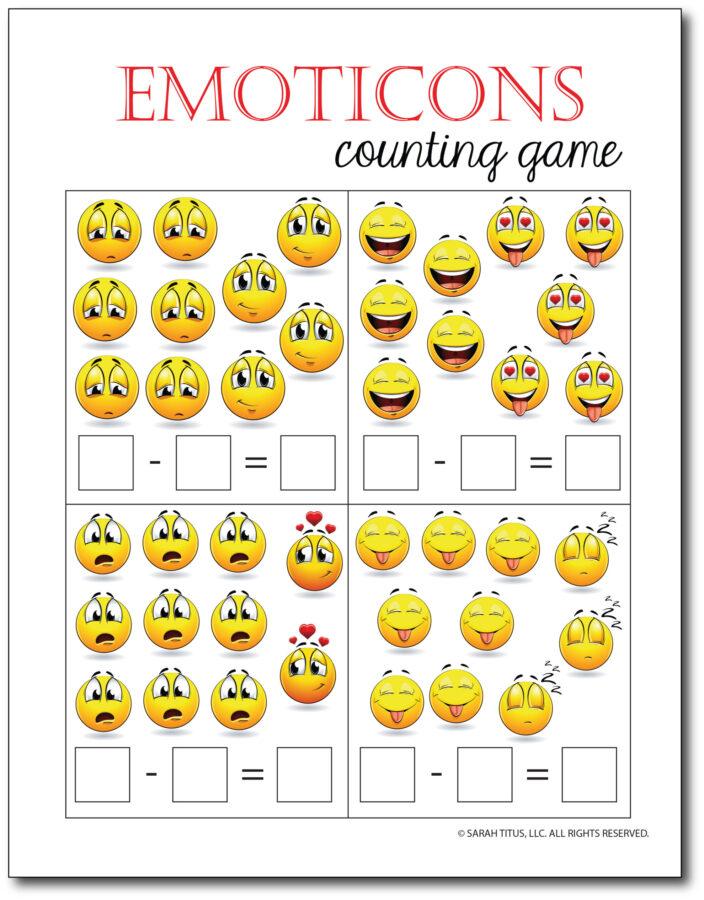 Subtraction-Printables-Emoticons