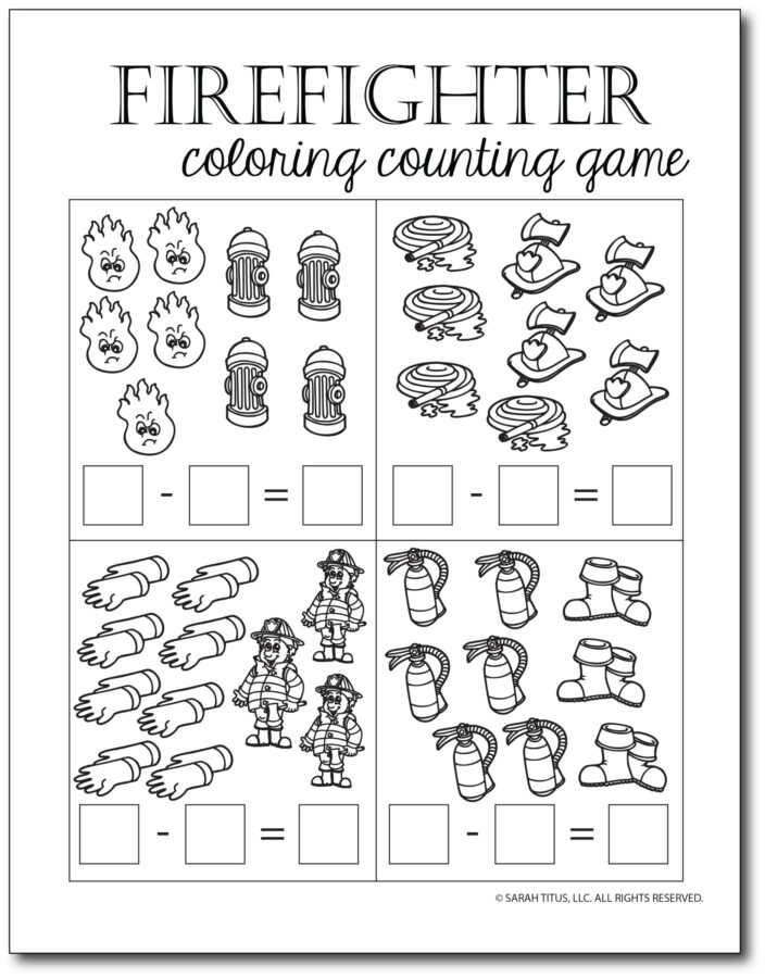 Subtraction-Printables-Firefighter-Coloring