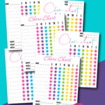 These free printable chore charts were designed for multiple kids. With names at the top, it's easy to assign a chart for each of your children and with the bright colors, they will love them and be motivated to do their chores! Also includes stickers and an age appropriate chores sheet! #3yearolds #2yearolds #teens #5-7yearsold
