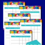 These weekly kids printable chore charts were designed for multiple kids. With names at the top, it's easy to assign a chart for each of your children and with the bright colors, they will love them and be motivated to do their chores! Also includes stickers and an age appropriate chores sheet! #toddler