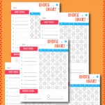 "This free printable DIY chore chart was created with boys in mind. My son wanted something more ""boy-ish"" and so these colors were exactly what he wanted. I hope your boys (or girls) like it too! Includes stickers and an age appropriate chores sheet to boot!"