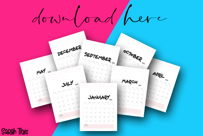 Cutest Printable Pink Star Calendar - 2021 Download