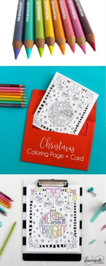 Merry and Bright Coloring Page & Card Printables
