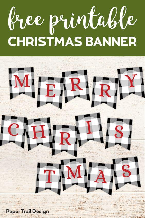 Plaid Christmas Banner Printables