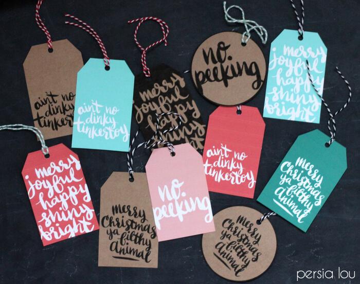 Printable Hand-Lettered Christmas Tags
