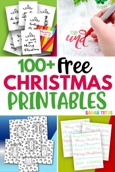 Looking for the cutest free Christmas printables? Here's 100+ pages of my favorite holiday Xmas templates! Includes gorgeous gift tags, festive poster signs, black and white coloring page printables, gingerbread gift boxes, decorations & tons more!