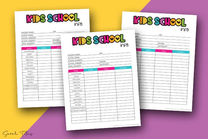 2021 Kids School Info Sarah Titus